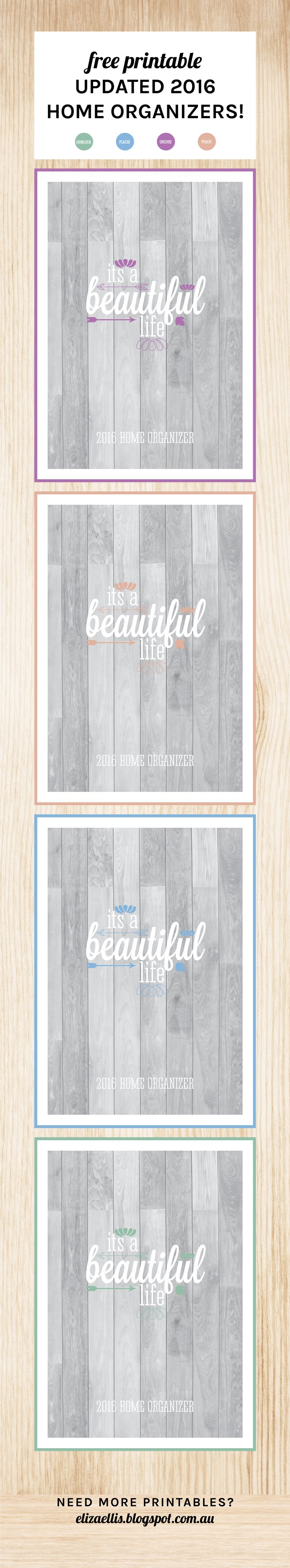 Free Printable 2016 Home Organizer Covers by Eliza Ellis. Available in 4 colors. Check out my blog for loads more planners, diaries, calendars and organizers!