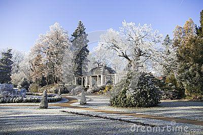 Zruc nad Sazavou castle park in winter, covered in snow. Europe, Czech Republic