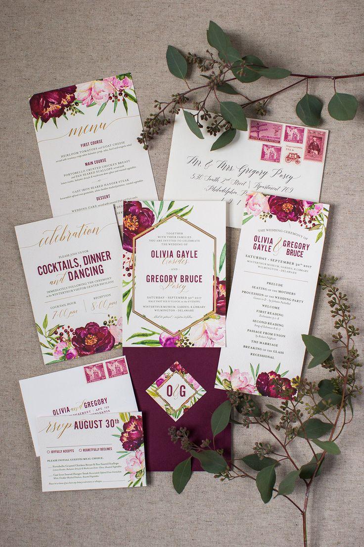 DOLA Photography {dolaphoto.com} | Britt Larson Design Wedding Invitation Suite & Paper Goods | Maroon Wedding Invitation | Floral Wedding Invitation Inspiration | Winterther Wedding | Wedding Invite Ideas