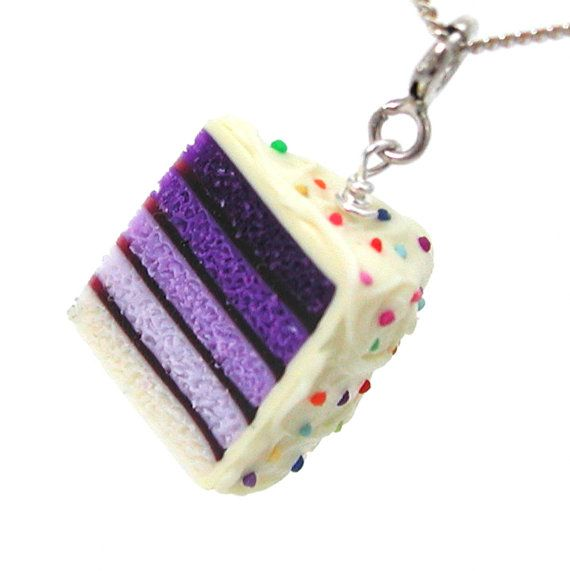 Purple ombre cake necklace by inediblejewelry on Etsy, $26.00