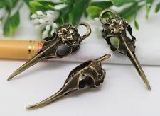 2pcs Antiqued Bronze Flower Vulture Bird Skull Head Pendant 42x13mm