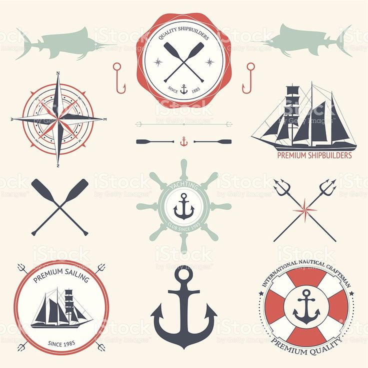 Set of sea signs and labels royalty-free stock vector art
