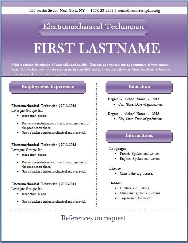 17 Best ideas about Free Resume Templates Word – Free Resume Templates Download Word