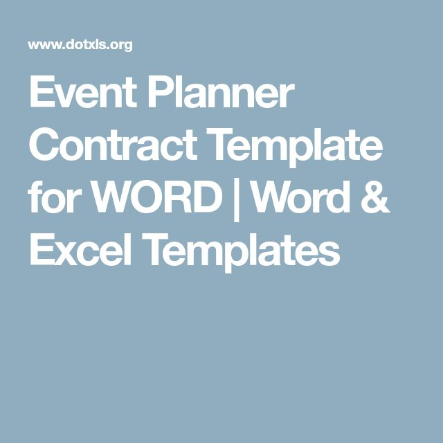 Event Planner Contract Template for WORD | Word & Excel Templates