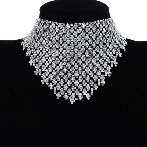 2017 Luxurious Wedding Tassel Choker Necklace with Rhinestone