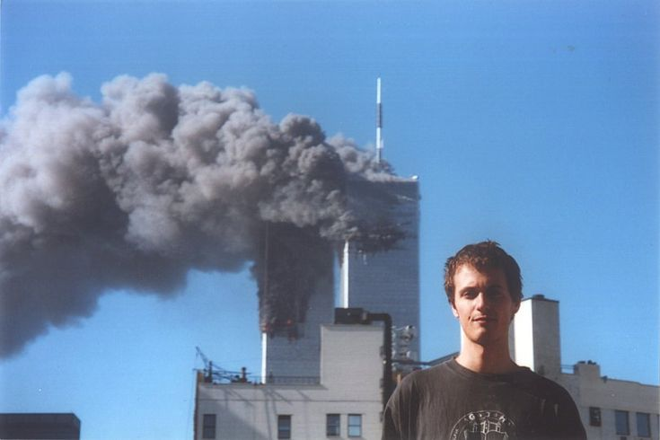 The Twin Towers and Manhattan in photographs of students participating in theWork & Travel USA and Au Pair Program-  This is a pic of one of the students on 911 NYC