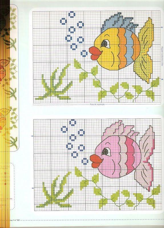 Edilse Bordados: Peixes em ponto cruz!!!