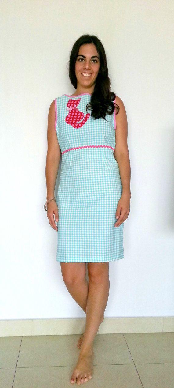 Vestido vichy vestido corto vestido vintage vestido por LiliyCoco, €42.00