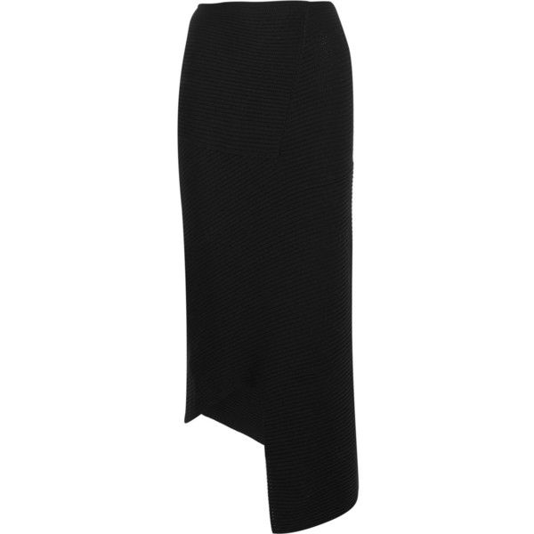 Joseph Ribbed merino wool maxi skirt (3.185 HRK) ❤ liked on Polyvore featuring skirts, black, floor length skirt, pull on skirt, cut out skirt, floor length black skirt and long skirts
