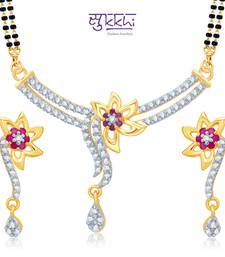 Buy Sukkhi Excellent Gold and Rhodium Plated Cubic Zirconia and Ruby Stone Studded Mangalsutra Set(14056MSCZK1500) mangalsutra online