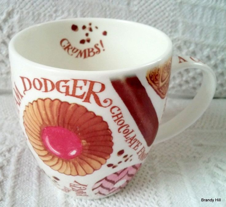 Portmeirion UK Bone China Coffee Mug A Cuppa & A Biscuit Crumbs Cookies Desserts #Portmeirion