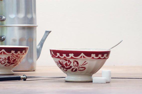 Bol Digoin Sarreguemines cotelé à roses rouge French vintage  #bowl #bol #boldigoin #Digoin #Digoinbowl #rosedigoin #roses #pink #vintage #frenchvintage #brocante #shabbychic
