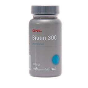 GNC Biotin 300 Mcg X 100 Tabletas Fórmula elaborada con Biotina (Vitamina B8), la cual se utiliza comúnmente en el tratamiento para el cabello , ayuda a fortalecerlo y evita su caída, nutre el cabello y de igual manera ayuda a metabolizar correctamente las proteínas del organismo, ayuda a fomentar el buen funcionamiento de las células, se asimila rápidamente en el organismo