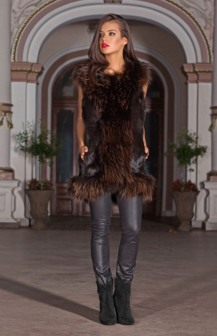 The Clemence fur gilet is adds catwalk glamour to any outfit. A versatile sleeveless jacket that features a trendy oversize cut and a warm pop of colour that can be effortlessly layered over your favourite dress or jeans.