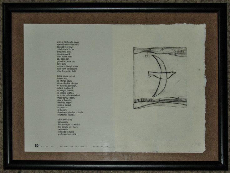 carte bibliofila 2.pagina tiparita (50) si ilustratie, gravura in pointe seche