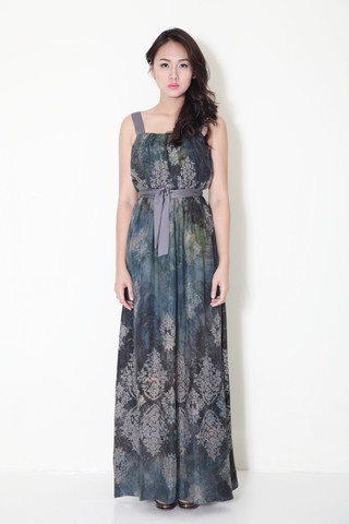 Batik long sash maxi dress
