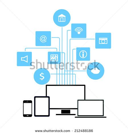 Networking System devices and apps vector illustration - stock vector