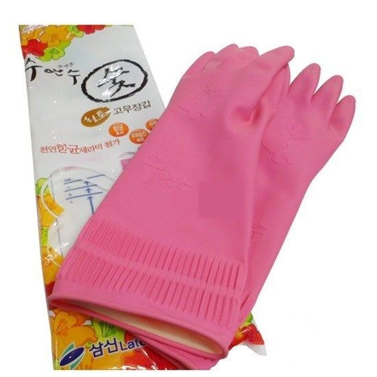 Korean Long Germanium Rubber Gloves Natural Latex Kitchen/Dish Washing/Cleaning