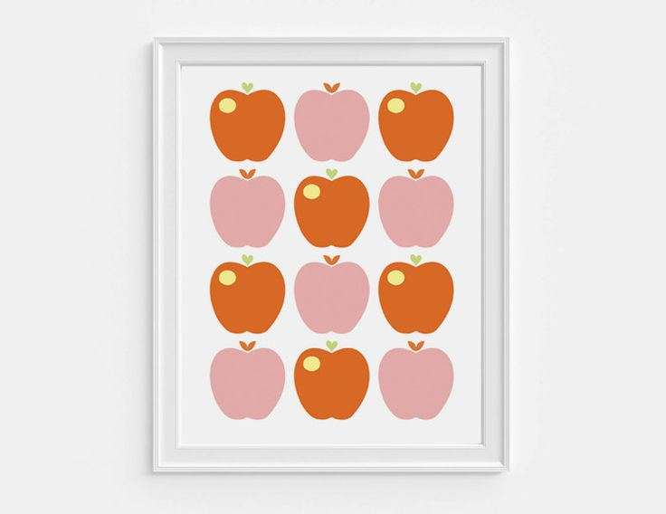 Printable apple poster retro wall decor by HelloOliveDesigns