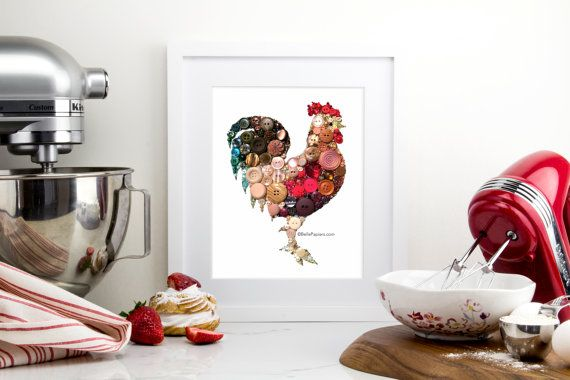 SALE! Usually 399! 11x14 Kitchen Rooster Kitchen Art Buttons and Swarovski Unique Housewarming Gift Ideas Mother's Day present mom cook