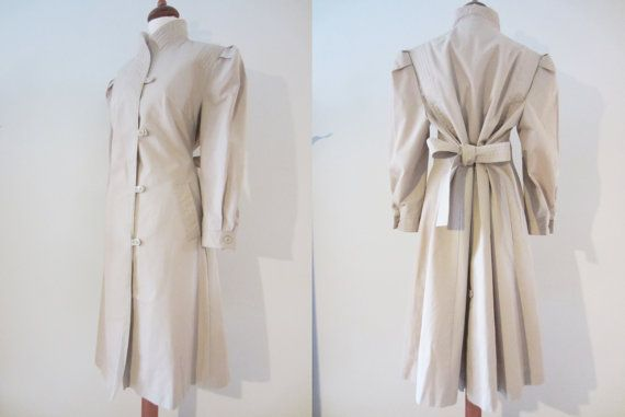 80s does 40s Military Style Trench Coat w/ Puffed Sleeves by Bryant Park, S // Vintage Avant Garde High Collar Overcoat