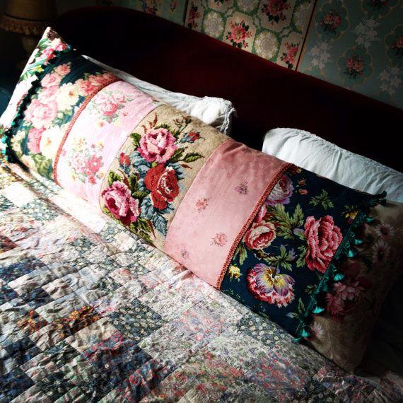 Beautiful needlepoint and vintage fabric by NicholasandSteele,