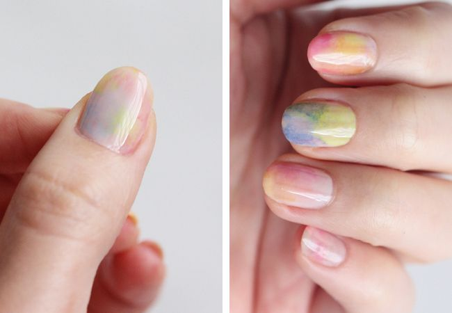 A tutorial for pretty pastel nails with a watercolor look.