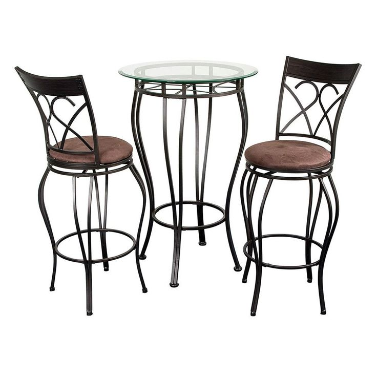 fancy glass top 3 piece pub table set please note this item is not