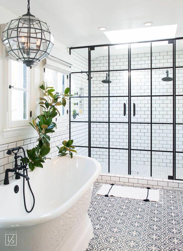 las palmas // decorative tile // white and black bathroom // globe pendants // steel and glass shower doors // dream bathtub // dream bathroom