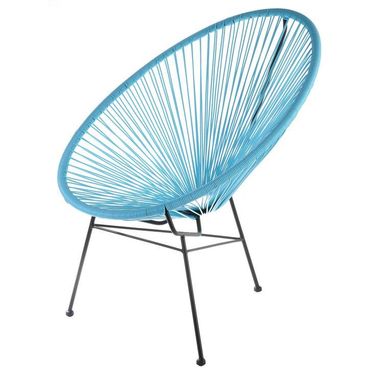 Retro Sessel Acapulco Bahia Türkis Outdoor Outdoor geeigneter Retro-Sessel für Designliebhaber, der uns an die guten alten Kindertage erinnert. Die gekonnt gespannten Polyethylenseile formen den Sessel zu einem Hingucker für Innen und...