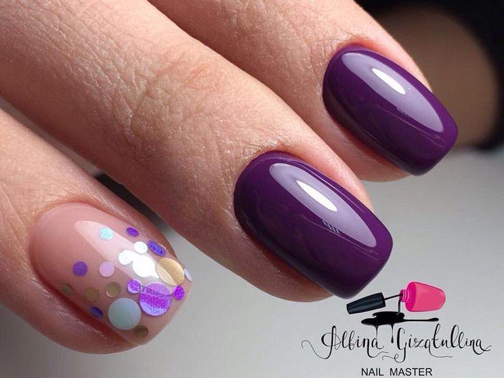 Fuchsia nails, Glitter nails, Hardware nails, Holiday nails by shellac, Ideas of plum nails, Nails trends 2017, New Year nails 2017, Plum nails