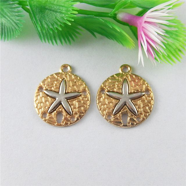 10pcs/lot Alloy Gold Round Creative Punk Silver Star Necklace Pendant  Jewelry Making Charms 23*20mm Handmade Crafts Gift 51461