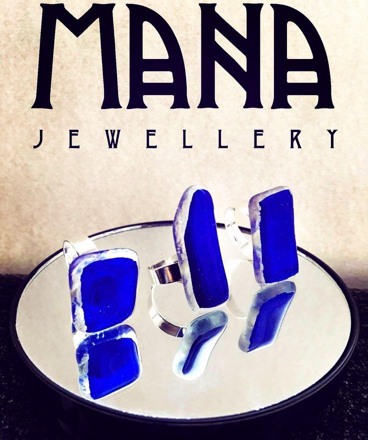 Cobalt blue glass rings by MANA jewellery https://www.etsy.com/shop/MANAByGekova