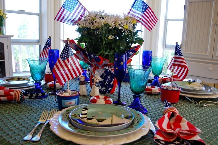 Two 4th of July Table Settings: The 99th Tablescape Thursday: July Fourth, Tables Sets, Table Decoration, Holidays Decoration, Tablescapes Thursday, July Fun, 4Th Of July, July Tables, 99Th Tablescapes