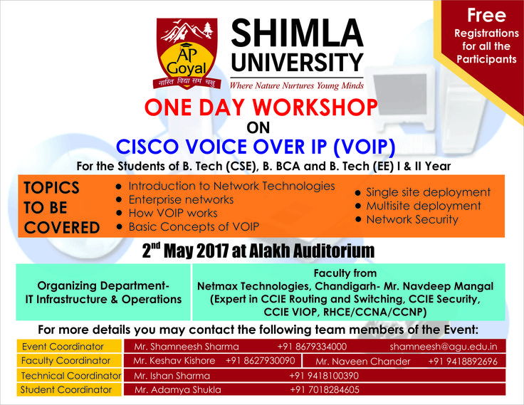 Important Notice !! Shimla University (AGU) is organizing One Day Workshop on CISCO VOICE OVER IP (VOIP)