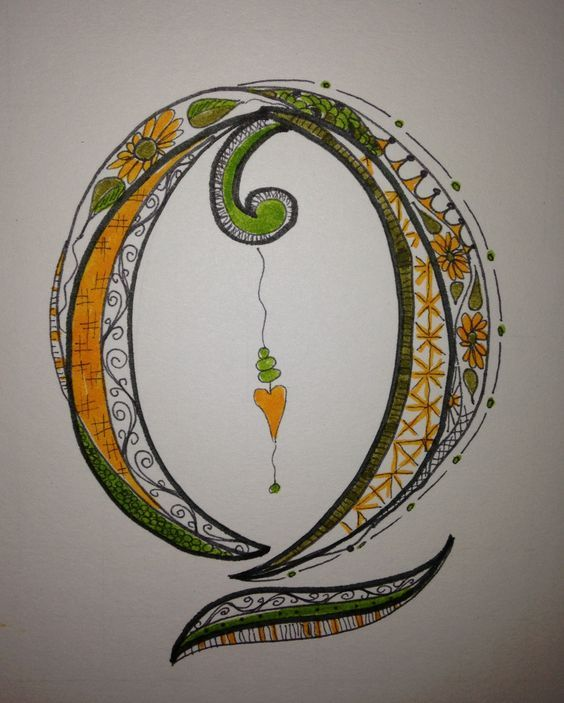 Adding to my Zen Tangle / Doodle Art alphabet. This is my Q. I love making these!: