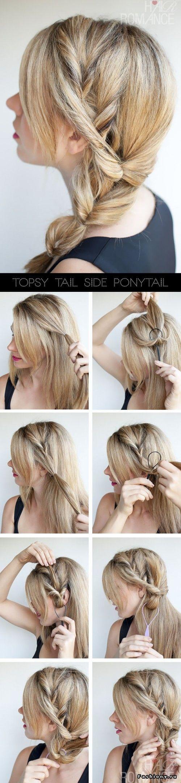 """1.Отделите прядь волос с одной стороны головы, закрепите резинкой и с помощью специального приспособления протяните хвост сквозь себя (можно обойтись и без """"петельки"""", но она лучше держит форму). К полученному хвосту добавьте пряди и протяните его вновь через себя. Повторите необходимое количество раз."""