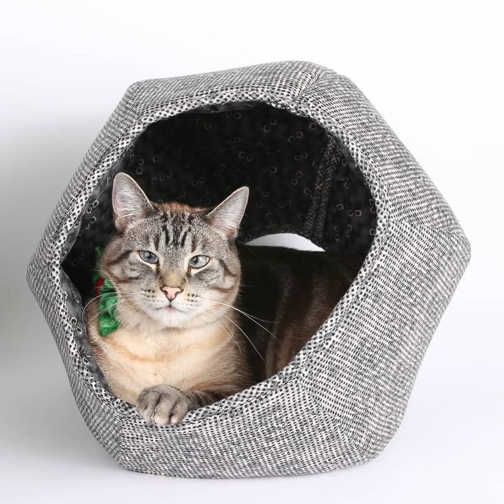 Cat Ball Cave Style Modern Cat Bed in Grey Victorian Weave