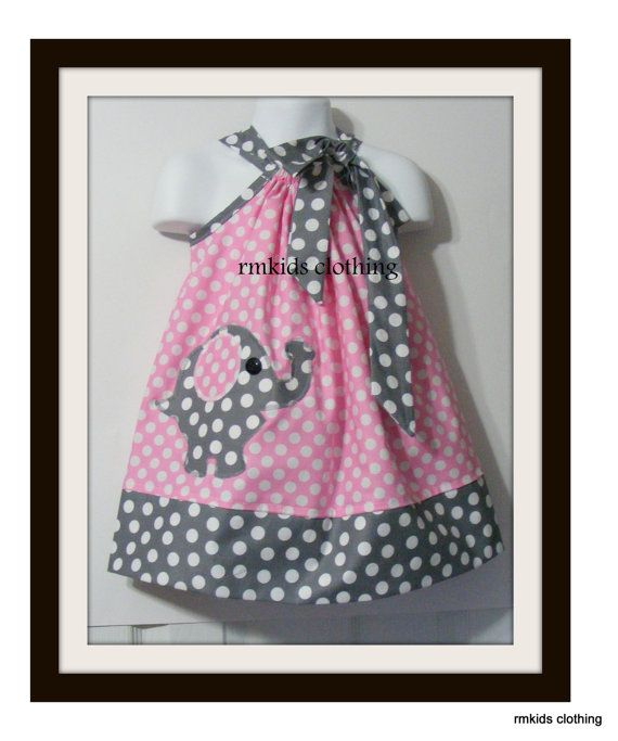 Spring Sale OFF-Custom Made Pillowcase Dress--sizes available Miller Pink ta Dot with Chubby Elephant Applique