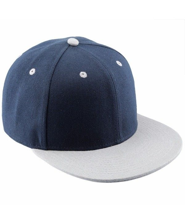 Snapback Hats-Flat Bill Adjustable Trucker Hat Baseball Cap - Navy ... 8805200558c