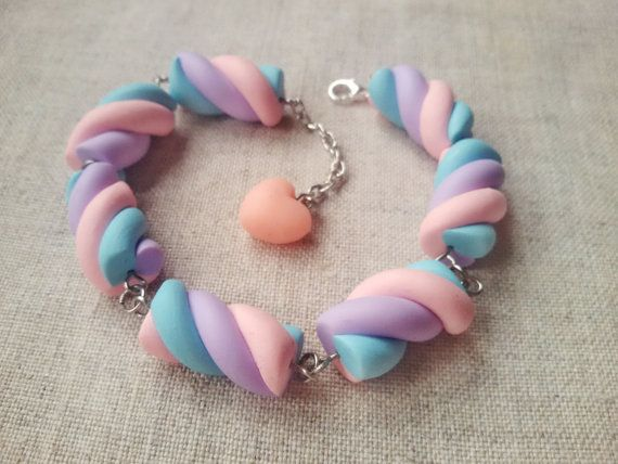 Marshmallow bracelet candy bracelet fairy von ClayCreationsForEver