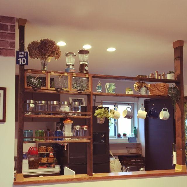 tomoppyさんの、キッチン,カフェ風,フェイクグリーン,DIY,ディアウォール,リメ缶,セリア,100均,のお部屋写真
