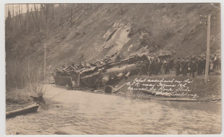 FERNIE, BC - Photo postcard by Joseph Frederick Spalding, showing an overturned locomotive on the C.P.R. railway, which claimed the life of the engineer. Cancel on the back dates 1910.