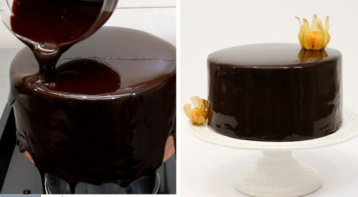 Chocolate Mirror Glaze Cake/Espejo de Chocolate Glaseado