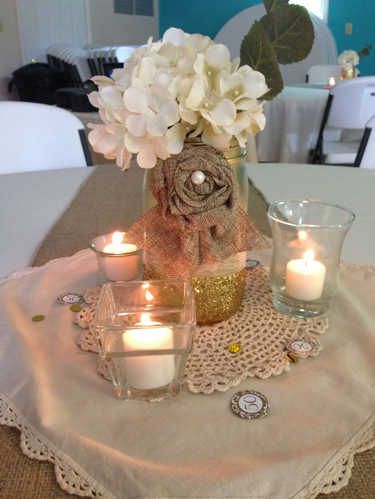 32 best 50th anniversary party images on pinterest 50th centerpiece i like the idea of using some cloth or burlap flowers mixed with real ones negle Image collections