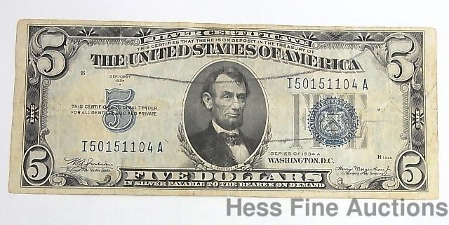 Details about $5 1934 Blue Seal Silver Certificate Note Currency ERROR Five Dollar Bill