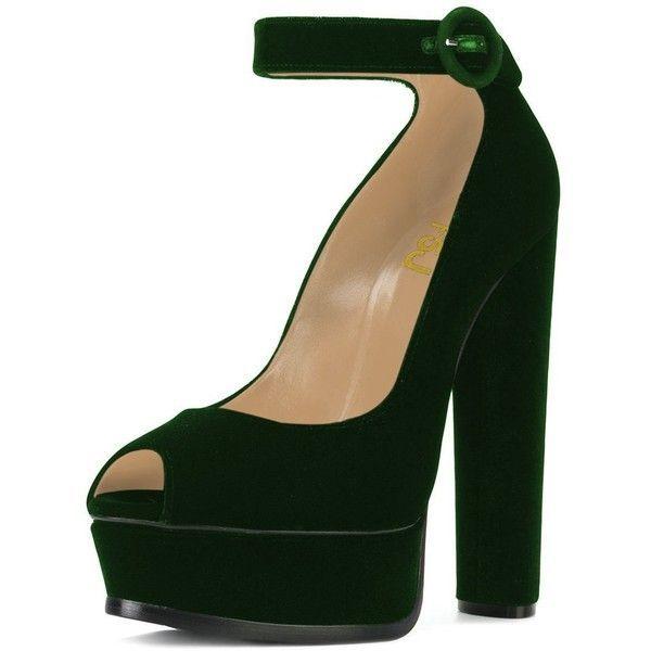 FSJ Women Ankle Strap Platform Pumps Peep Toe Chunky High Heels Faux... ($32) ❤ liked on Polyvore featuring shoes, chunky shoes, wide fit shoes, peep-toe shoes, party shoes and peep toe shoes