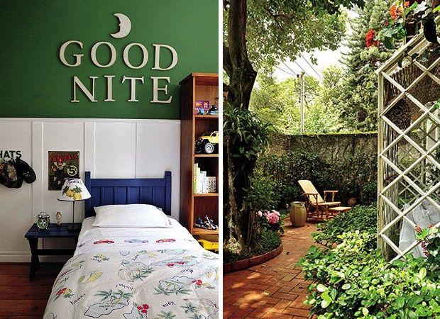 Em contraste com o lambri branco, o quarto de Guilherme tem tons escuros e toques de humor. A lua, as letras, o criado-mudo, a cabeceira e o...