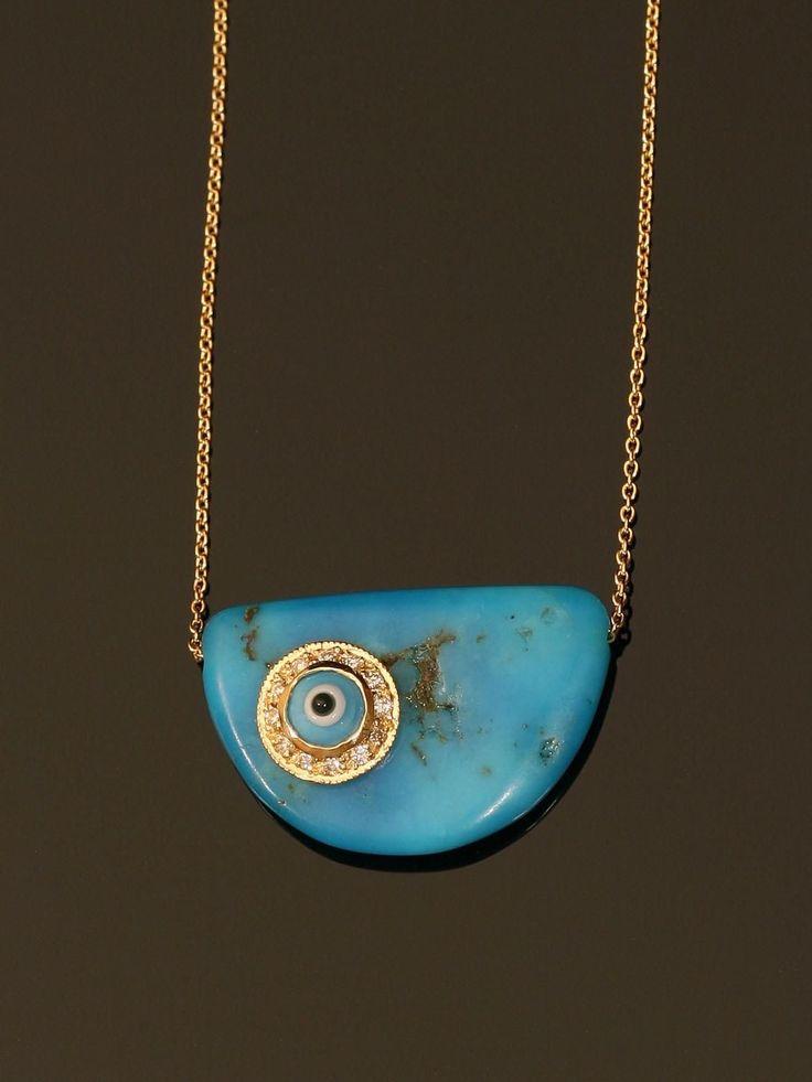 Yellow Gold Evil Eye Pendant With Diamonds At London Jewelers