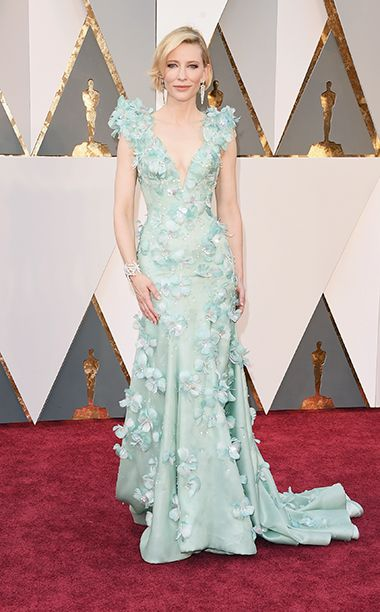 BEST: Cate Blanchett If there's a single person in the world who could get away with outrageous 3-D flowers and blue feathers, it's Cate Blanchett.